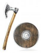 Wikinger-Axt und -Schild für Kinder Spielzeugwaffen braun-silbern