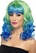 Meerjungfrau Langhaar-Perücke Locken grün-blau