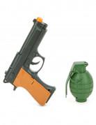 Revolver und Granate Spielzeugwaffen Halloween-Accessoire grau-baun-grün