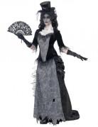 Schwarze Witwe Halloween Damenkostüm schwarz-grau
