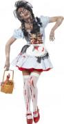 Horror Zombie Dorothy Märchenkostüm Halloween Damenkostüm hellblau-weiss