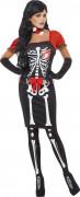 Schönes Skelett Halloween Damenkostüm schwarz-weiss-rot
