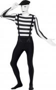 Pantomime Second-Skin-Suit Kostüm schwarz-weiss