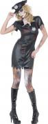 Zombie Polizistin Halloween Damenkostüm schwarz