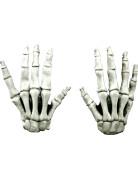 Skelett-Handschuhe Halloween-Accessoire weiss-schwarz