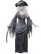 Geister-Piratin Halloween Damenkostüm grau-schwarz-weiss