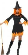 Hexe Halloween Damenkostüm schwarz-orange