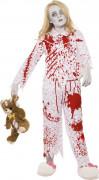 Zombie Pyjama Mädchen Kinderkostüm rot-weiss-rosa