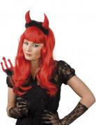 Teufelin Kostüm-Set Halloween Dreizack und Hörner rot-schwarz