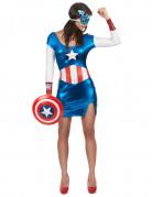 Sexy Captain America™-Damenkostüm blau-weiss-rot