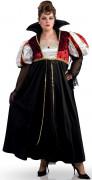 Geheimnisvolle Vampirin Halloween-Damenkostüm schwarz-weiss-rot