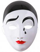 Pierrot-Maske Halloween-Maske trauriger Clown weiss-schwarz-rot