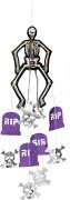 Skelett-Aufhängung Halloween-Hängedeko mit Grabsteinen weiss-lila-schwarz