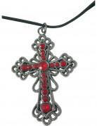 Gothic-Kreuz-Halskette silber-rot