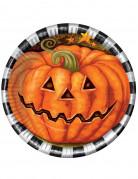 Kürbis Teller Halloween Tischdeko 6 Stück orange-schwarz-weiss 23cm