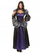 Aristokratische Vampirin Halloween Kostüm für Damen lila-schwarz-grau