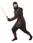 Ninja-Herrenkostüm schwarz-grau-rot