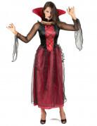 Edle Vamprin Halloween-Damenkostüm rot-schwarz