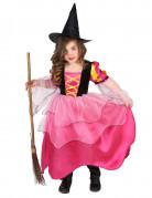 Zauberhaftes Hexen-Kinderkostüm pink-schwarz-gelb