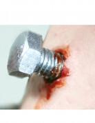 Blutige Wunde mit Schraube als Abziehbild silber-rot
