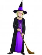 Hexen-Kinderkostüm mit Hut schwarz-lila