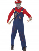 Zombie Klempner Halloween-Kostüm rot-blau