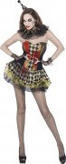 Zombie Clown Halloween Damenkostüm grün-rot
