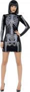 3D Skelett-Kleid Halloween Damenkostüm schwarz-grau