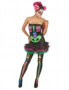 Neon Skelett Halloween Damenkostüm schwarz-bunt