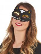 Katzenmaske für Erwachsene schwarz-gold