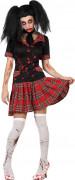 Zombie-Schulmädchen Halloween-Damenkostüm schwarz-rot