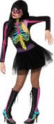 Süsses Skelett Halloween-Damenkostüm schwarz-bunt