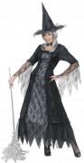 Spinnennetz-Hexe Damen-Kostüm schwarz-silber
