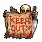 Horror-Clown Schild Keep Out Halloween Party Deko bunt ca. 27cm