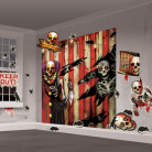 Horror-Clown Wand-Deko Set Halloween-Party bunt ca. 83x165cm