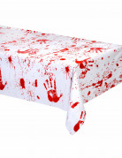 Tischdecke - Halloween Dekoration Blutspuren weiss-rot 137 x 274 cm