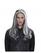 Lange zweifarbige Vampir Halloween-Perücke schwarz-weiss