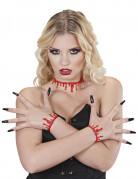 Blutiges Horror-Halsband Halloween-Accessoire rot 36cm