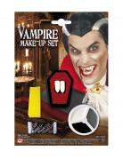 Vampir-Make-up-Set mit Zähnen und Kunstblut weiss-grau-rot