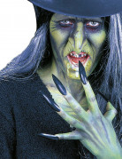 Schwarze Kunstnägel für Erwachsene Halloween schwarz