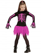 Süsse Skelett-Ballerina Halloween Kinderkostüm schwarz-pink
