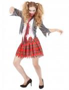 Zombie Schülerin Halloween-Damenkostüm Uniform grau-weiss-rot