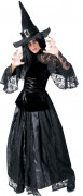 Düstere Gothic-Hexe Halloween-Damenkostüm schwarz