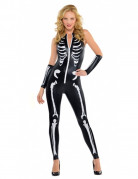 Skelett-Lady Halloween-Damenkostüm schwarz-weiss
