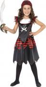 Gothic Geister Piratin Kinderkostüm schwarz-rot