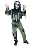 Zombie-Skelett Halloween Kinderkostüm schwarz-oliv