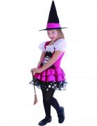 Zauberin Kinderkostüm Freche Hexe pink-weiss-schwarz