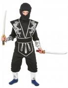 Gefährlicher Ninja Kinder-Kostüm für Jungen schwarz-silberfarben