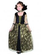 Kleine Spinnen-Hexe Halloweenkinderkostüm für Mädchen schwarz-gold