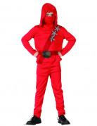 Ninja-Kinderkostüm mit Wurfsternen rot